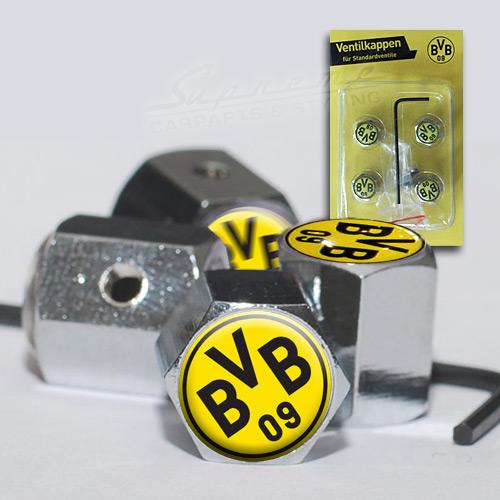 bvb borussia dortmund 4x chrom ventilkappen mit diebstahlschutz fanartikel ebay. Black Bedroom Furniture Sets. Home Design Ideas